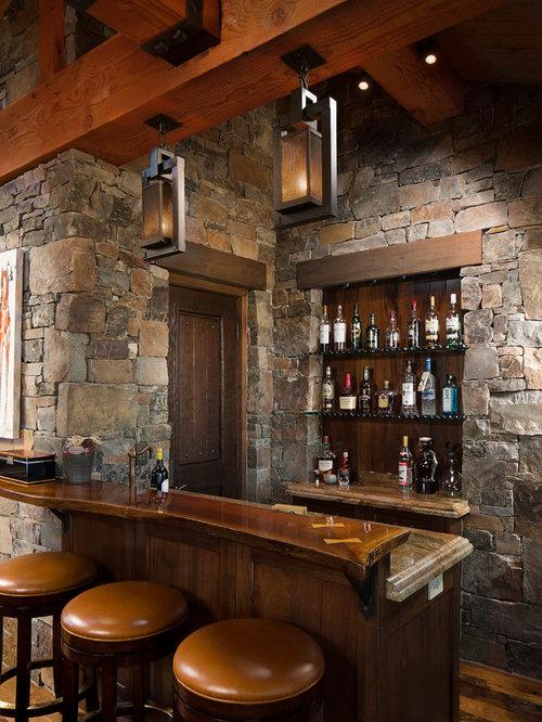 Open shelves kitchen home bar design ideas remodels photos - Home bar shelving ideas ...