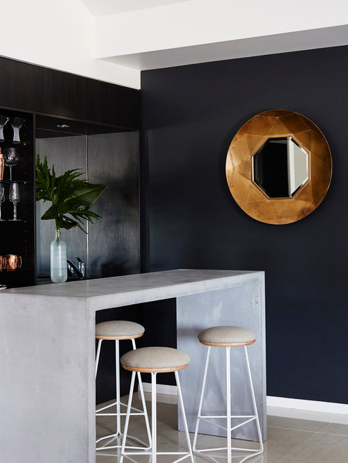 Design Ideas For A Contemporary Galley Seated Home Bar In Brisbane With  Open Cabinets, Black