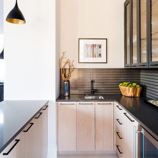 Trendy U Shaped Wet Bar Photo In Dallas With An Undermount Sink, Flat