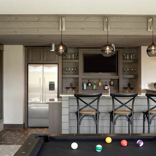 Inspiration for a transitional multicolored floor seated home bar remodel in Minneapolis with open cabinets, dark wood cabinets, brown backsplash and wood backsplash