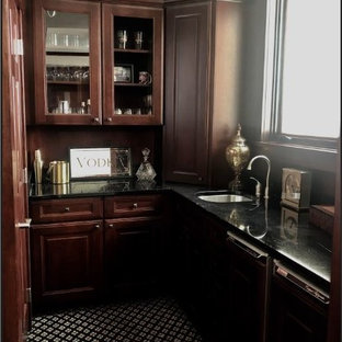 Wet bar - mid-sized transitional l-shaped carpeted and multicolored floor wet bar idea in Minneapolis with an undermount sink, granite countertops, black countertops, raised-panel cabinets and dark wood cabinets