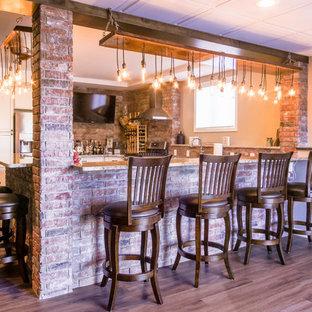 Large rustic u-shaped breakfast bar in Detroit with recessed-panel cabinets, white cabinets, engineered stone countertops, red splashback, brick splashback, medium hardwood flooring, brown floors and brown worktops.