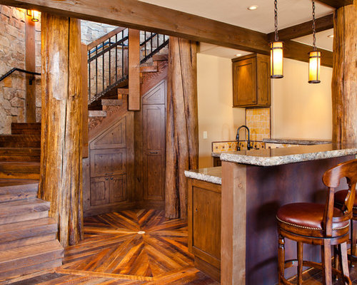 Rustic basement houzz for Rustic finished basement