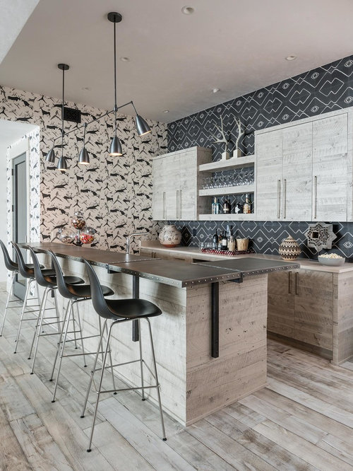 Home Bar Design Ideas, Remodels & Photos with Light Wood Cabinets