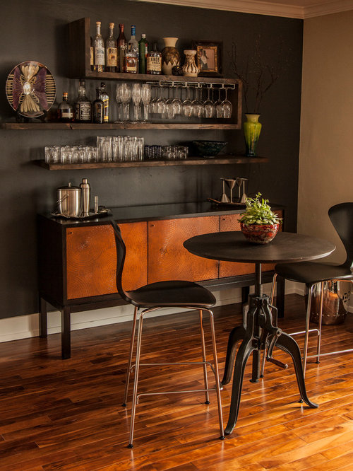 inspiration for a singlewall medium tone wood floor home bar remodel in salt