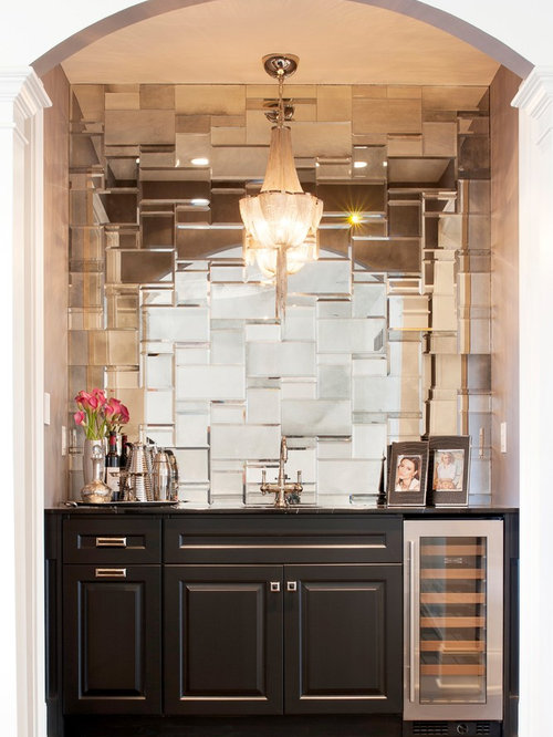 This Is An Example Of A Mid Sized Modern Single Wall Wet Bar In