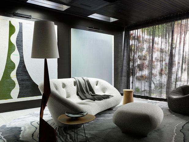 Contemporary Home Bar by Jamie Bush & Co.