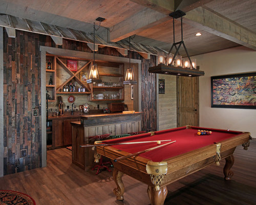 home bar designs ideas. example of a mountain style galley medium tone wood floor and brown wet bar design home designs ideas