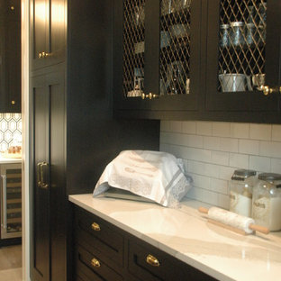 51eee9fcc8 Inspiration for a large shabby-chic style galley ceramic floor and gray  floor wet bar