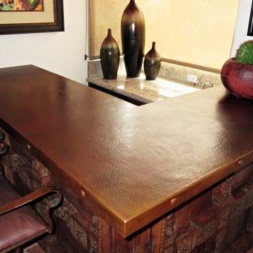 Sealed Patina on Hammered Copper Countertop