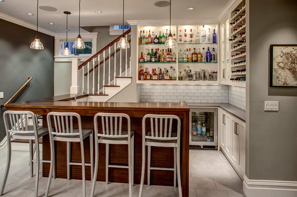 Transitional Home Bar by Megapolis Construction Inc.
