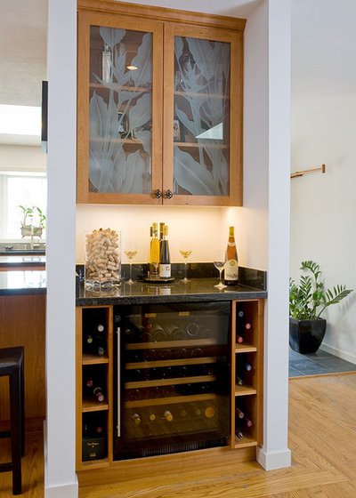 Transitional Home Bar by C & A Builders