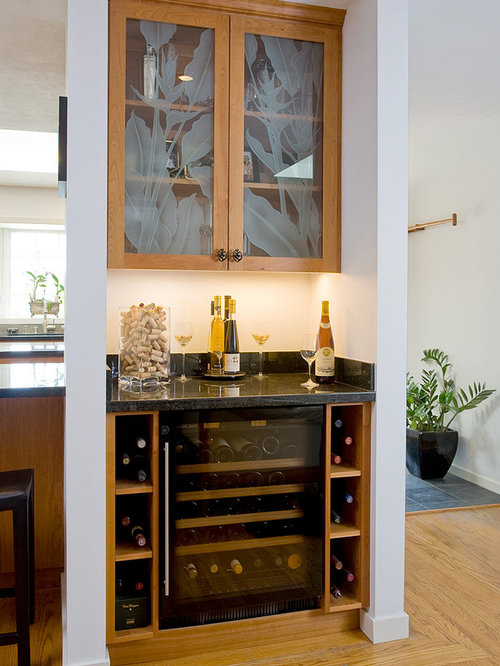 mini bar kitchen design. Transitional home bar idea in San Francisco with glass front cabinets and  medium tone wood Minibar Kitchen Houzz