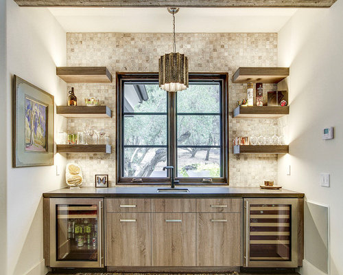 Mediterranean Single Wall Wet Bar Idea In Sacramento With An Undermount  Sink, Open Cabinets