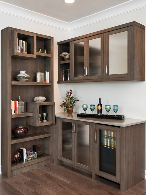 small home bar designs. Small transitional l shaped dark wood floor and brown wet bar photo  in Miami Home Bar Ideas Design Photos Houzz