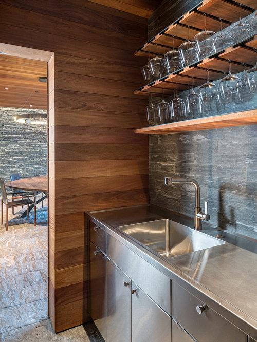 rustic home bar design ideas remodels photos with gray backsplash