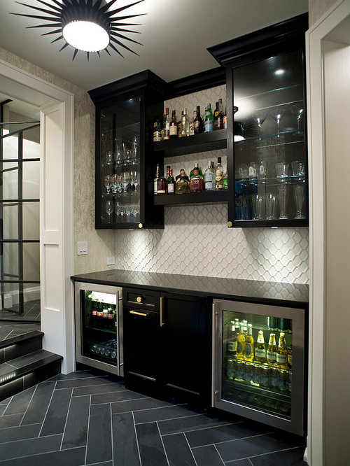 transitional single wall home bar idea in other with glass front