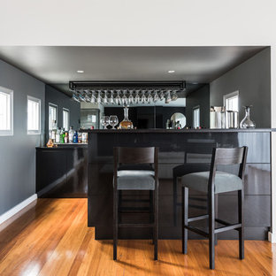 Photo of a contemporary galley wet bar in Melbourne with flat-panel cabinets, black cabinets, mirror splashback, medium hardwood floors, brown floor and black benchtop.