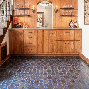 Wet Bar   Small Mediterranean Single Wall Ceramic Floor And Multicolored  Floor Wet Bar Idea
