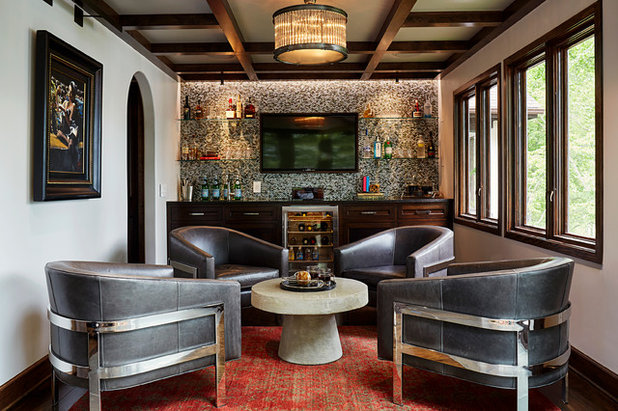 Transitional Home Bar by CIRCLE Design Studio