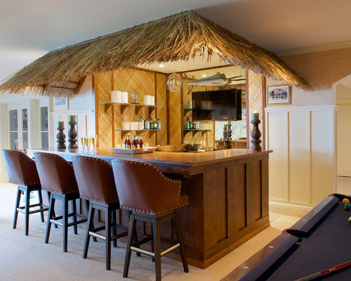 25 Best Tropical Home Bar With Dark Wood Cabinets Ideas Remodeling Pictures Houzz