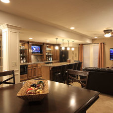 Transitional Home Bar by Chastain Interiors