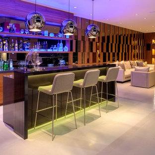 Cette image montre un bar de salon minimaliste.