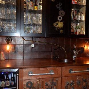 Example of a mid-sized urban single-wall light wood floor wet bar design in DC Metro with an undermount sink, shaker cabinets, medium tone wood cabinets, quartz countertops, brown backsplash and ceramic backsplash