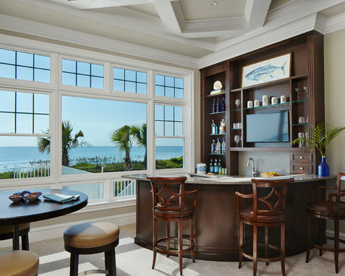 Best Tropical Home Bar With Dark Wood Cabinets Design Ideas Remodel Pictures Houzz