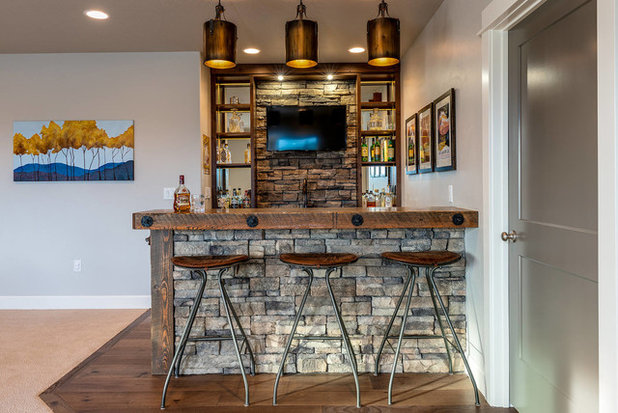 Rustic Home Bar by Madison Creek Furnishings & Design