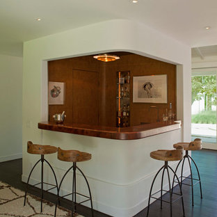 Mid Sized 1950s L Shaped Dark Wood Floor And Brown Seated Home Bar