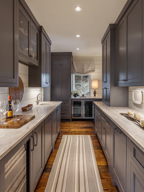 Wet Bar Backsplash Ideas Part - 23: Wet Bar - Large Farmhouse Galley Brown Floor And Dark Wood Floor Wet Bar  Idea In