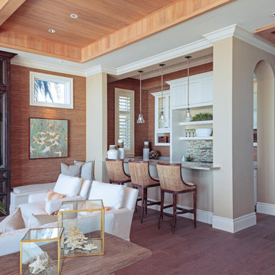 Mid-sized beach style galley dark wood floor and brown floor seated home bar photo in Miami with recessed-panel cabinets, white cabinets, multicolored backsplash and matchstick tile backsplash