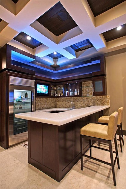 Contemporary Home Bar by Aaron Vry