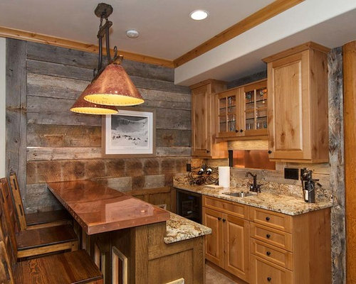 Seated Home Bar   Mid Sized Rustic Galley Seated Home Bar Idea In Other With