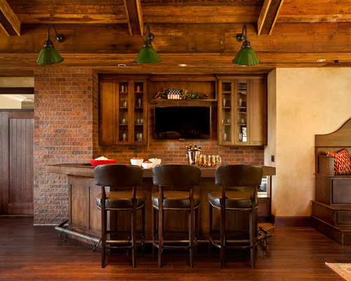 Inspiration For A Large Rustic U Shaped Dark Wood Floor And Brown Floor  Seated Home