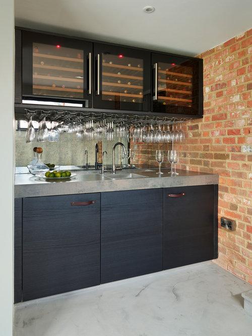 Wet Bar   Contemporary Single Wall Gray Floor Wet Bar Idea In Berkshire  With A