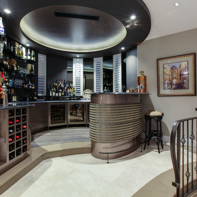 Seated home bar - contemporary u-shaped seated home bar idea in Gold Coast - Tweed with shaker cabinets and black backsplash