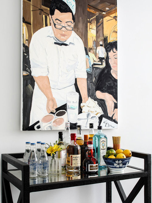 example of a small trendy single wall dark wood floor and brown floor bar cart - Small Home Bar Design