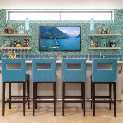 Seated home bar - coastal galley seated home bar idea in Los Angeles with beaded inset cabinets, light wood cabinets, multicolored backsplash and mosaic tile backsplash