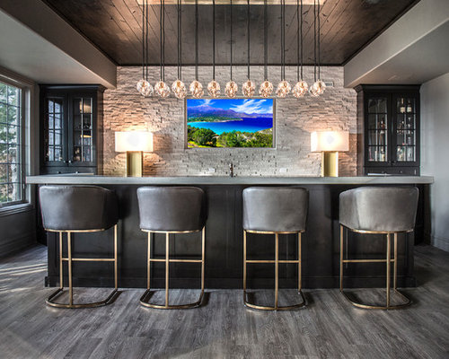 Inspiration For A Modern Galley Seated Home Bar In Chicago With Glass Front  Cabinets,
