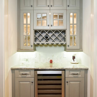 Traditional Butlers Pantry with Built In Lighting and Wine Cooler