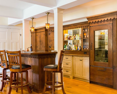 traditional single wall medium tone wood floor seated home bar idea in bridgeport with recessed - Home Bar Designs Ideas