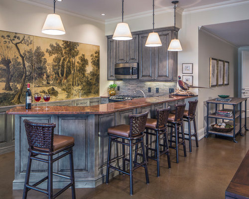 Home Bar Design Ideas, Remodels & Photos with Gray Backsplash and Raised-Panel Cabinets
