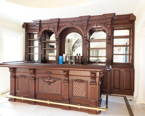 Example Of A Mid Sized Classic Ceramic Floor Home Bar Design In New York