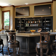 Traditional Home Bar Traditional Media Room