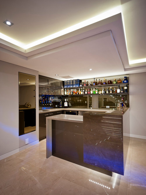 Best Contemporary Home Bar With Beige Cabinets Design Ideas Remodel Pictures Houzz