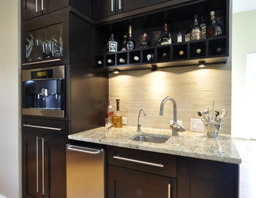 Transitional Dark Wood Cabinetry Kitchen with Beverage Center