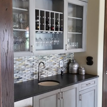 Transitional farmhouse with customized painted frameless cabinetry