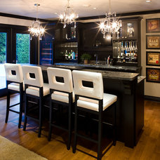 Transitional Home Bar by Andrea Rodman Interiors